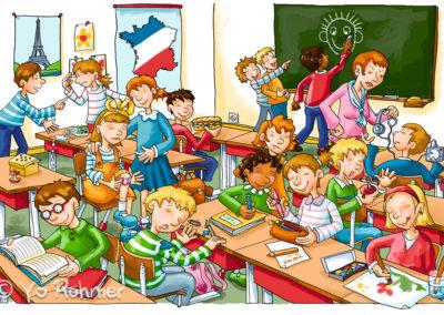Klassenzimmer_Schulbuchillustration