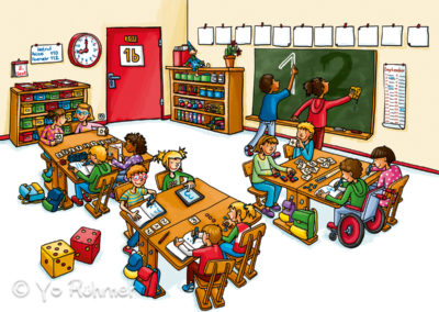 Klassenzimmer_Einstern_Schulbuchillustration